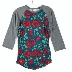LuLaRoe Randy rose floral half sleeve shirt